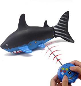 Tipmant Mini RC Fish Radio Remote Control Shark Electric Boat Submarine Electronic Toys for Swimming Pool Water Tube Kids Gifts with Screwdriver (Black)