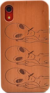 iPhone XR Wooden Case, Funny Space Alien Carving Real Wood Premium Protective Shockproof Slim Cover for iPhone XR (2018 Release)