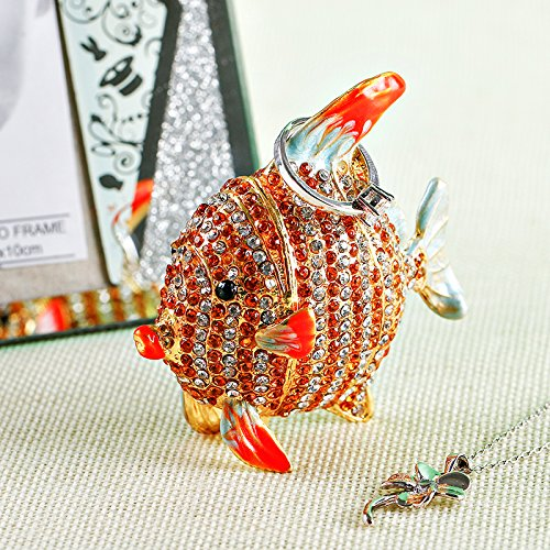 HJ Lopez Figurines & Miniatures | Tropical Fish Trinket Box Hinged Small Jewelry Ring Holder Bejeweled Figurine Collectible Decoration Gift Wedding Home Decor