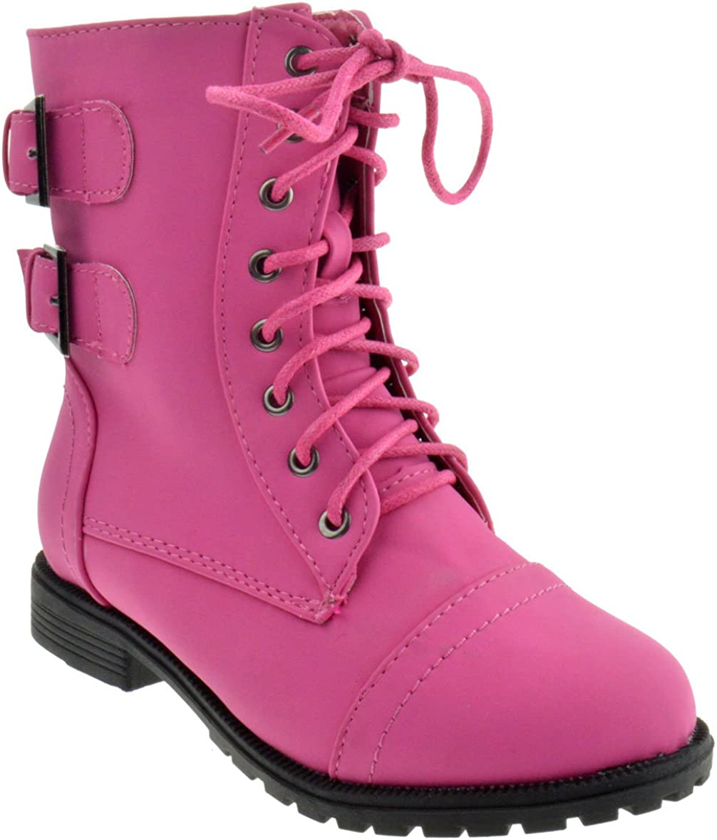 Cozy 91 Girls Lace Up Combat Boots