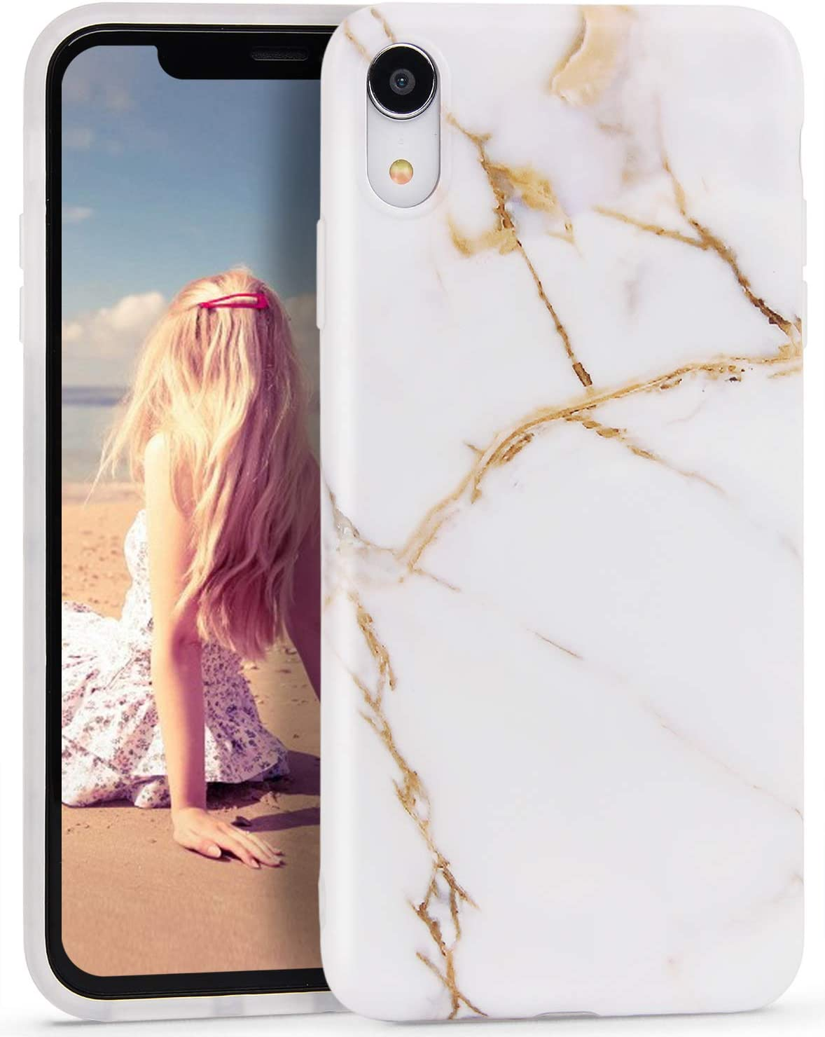 Imikoko iPhone Xr Case, iPhone Xr Marble Case, Slim Soft Flexible TPU Marble Pattern Cover for Apple iPhone Xr 6.1