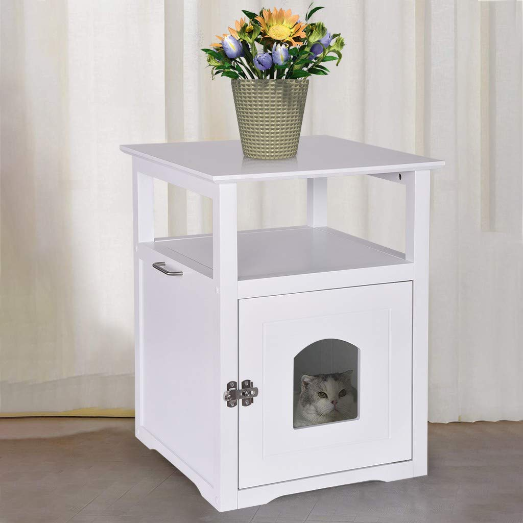 JHFUH Cat House Litter Box Enclosures, Decorative Cat House Side Table Pet Nightstand Bedside Cabinet Crate Cat Litter Box Enclosures, with Wide Table Top