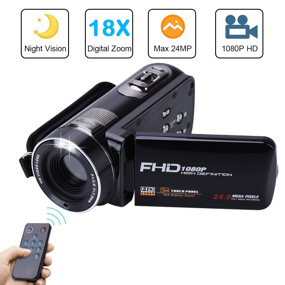 Camera Camcorder with IR Night Vision, Weton 3.0 inch LCD Touch Screen Digital Video Camera Full HD 1080p 24.0MP Pixels 18x Digital Zoom Mini DV with Remote Control (Two Batteries included) by Weton (Image #1)