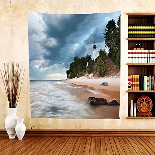 Gzhihine Custom tapestry Lighthouse Decor Collection Au Sable Lighthouse In Pictured Rock National Lakeshore Michigan Usa. Bedroom Living Room Dorm - Michigan Outlets Prime City