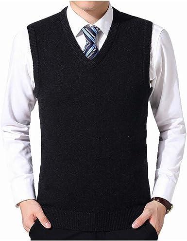 Jersey suéter Hombres Otoño Cuello en V Chaleco Delgado Suéteres ...