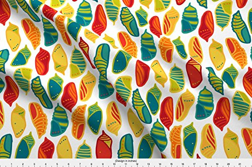 Collection Chrysalis (Spoonflower Chrysalis Fabric Chrysalis Collection - White by Pinky Wittingslow Printed on Performance Knit Fabric by the Yard)