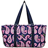 N. Gil All Purpose Open Top 23'' Classic Extra Large Utility Tote Bag 3 (Paisley Navy Blue)