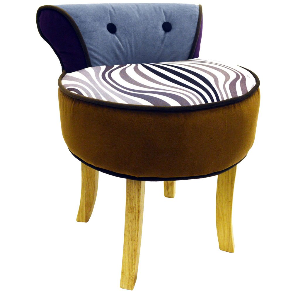 Marvelous WILDE   Stool / Low Back Padded Chair With Wood Legs   Black / White /  Brown / Grey: Amazon.co.uk: Kitchen U0026 Home
