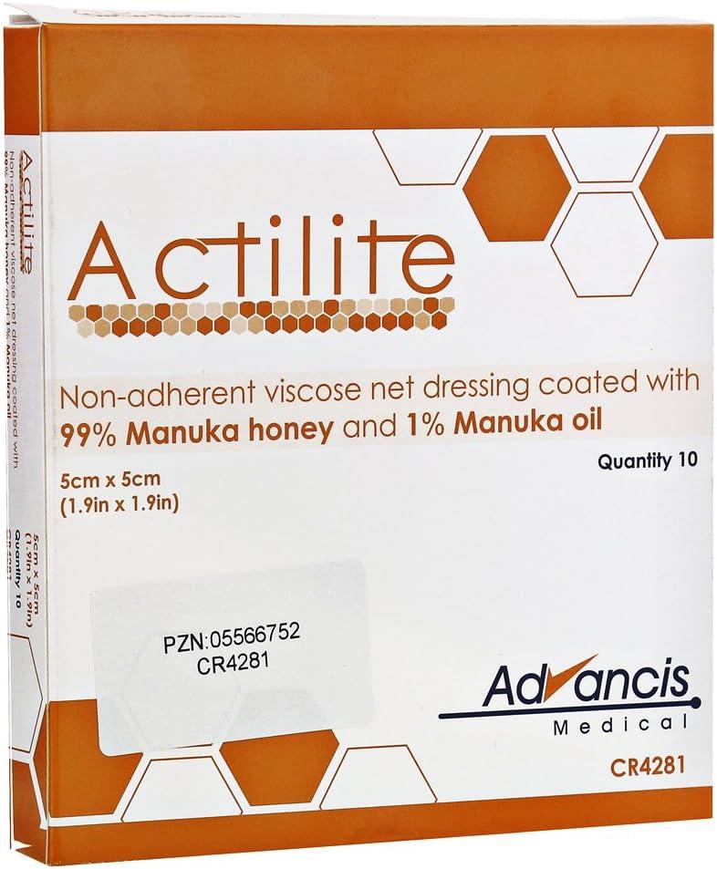 Actilite viscosa vestido de gasa con miel de Manuka, 5x 5cm