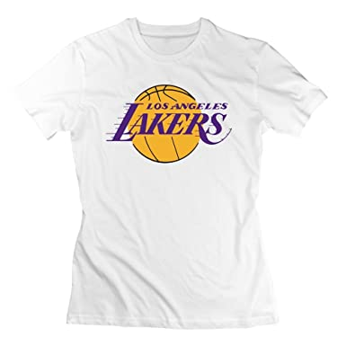 Yrewer BigRich Women s Los Angeles Lakers Team Basic Logo Crew-Neck T-Shirt  White  Amazon.co.uk  Clothing d740bb877
