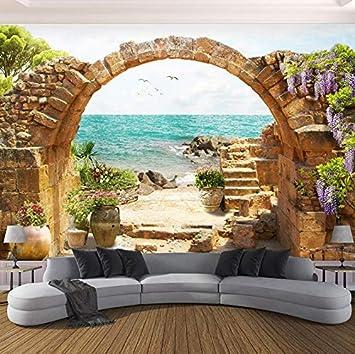 Mural Papel tapiz Jardín Piedra Arcos Vista al mar Papel tapiz ...