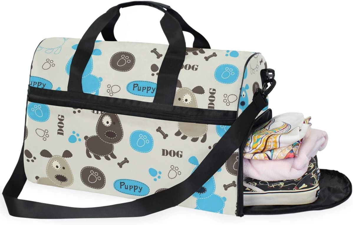 Funny Dogs Sports Gym Bag with Shoes Compartment Travel Duffel Bag for Men and Women