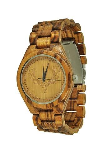 munixw Brentwood Trachten Reloj Reloj de pulsera madera Zebra Madera con Caja de madera: Amazon.es: Relojes
