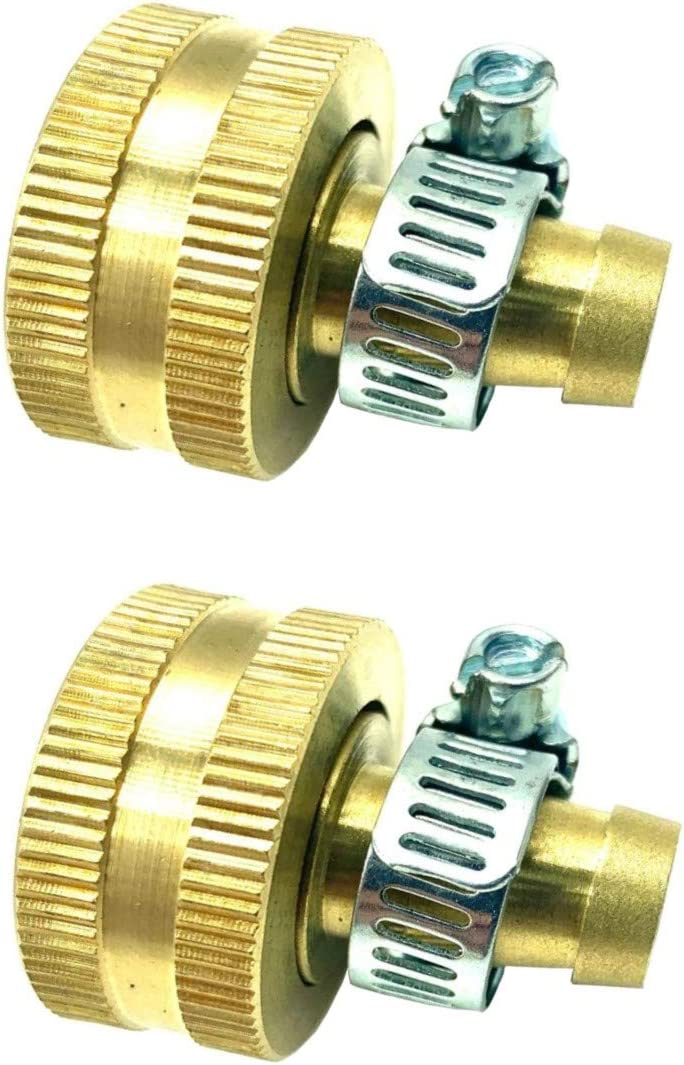 "BRUFER 5022H Brass Female Garden Hose Thread Swivel with 3/8"" Barb x 3/4"", Includes Galvanized Steel Clamps - Pack of 2 Complete Fittings with Clamps"