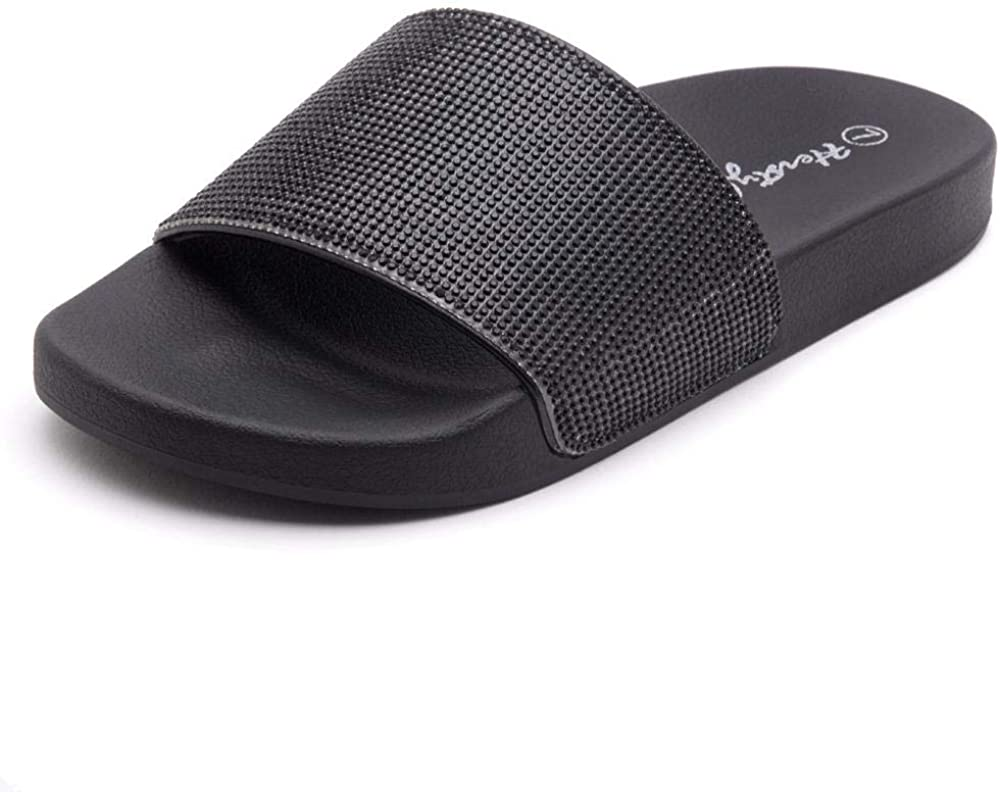 Herstyle Cosmic Womens Fashion Rhinestone Glitter Slide Slip On Mules Summer Shoe Platform Footbed Sandal Slippers
