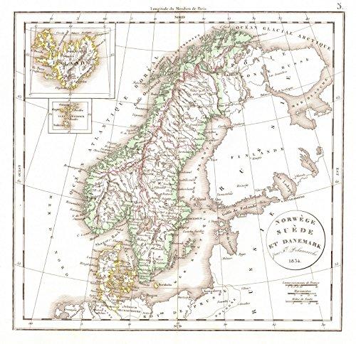 Historic Map | 1834 Norwege Suede et Danemark | Delamarche, (Delamarche Map)