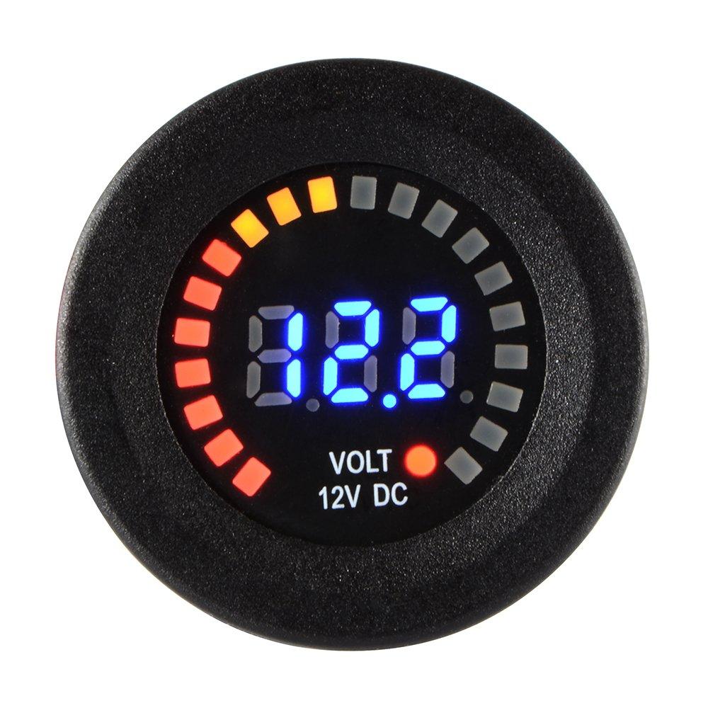 XCSOURCE/® Auto Motorrad wasserdichte blaue LED Digital Verkleidung Anzeige Voltmeter Spannungs Volt Messinstrument Me/ßinstrument Schwarzes DC 12V MA1028