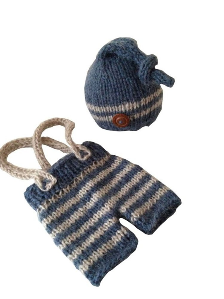 Pinbo Baby Crochet Knitted Photo Photography Prop Striped Hat Pants