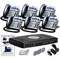 X16 6-Line Small Office Phone System with 6 Titanium Metallic X16 Telephones - Auto Attendant, Voicemail, Caller ID, Paging & Intercom