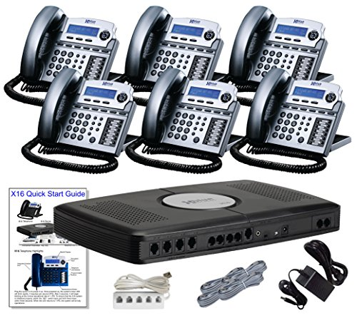 X16 Small Office Phone System with 6 Titanium Metallic X16 Telephones - Auto Attendant, Voicemail, Caller ID, Paging & Intercom by Xblue