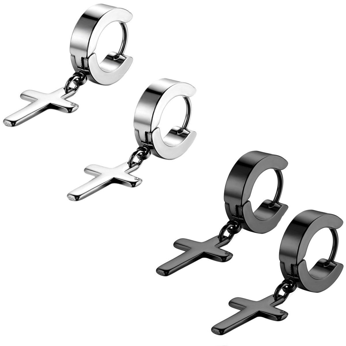 Flongo Men's Womens Unisex Stainless Steel Cross Dangle Loop Hinged Earrings CSlunDGy