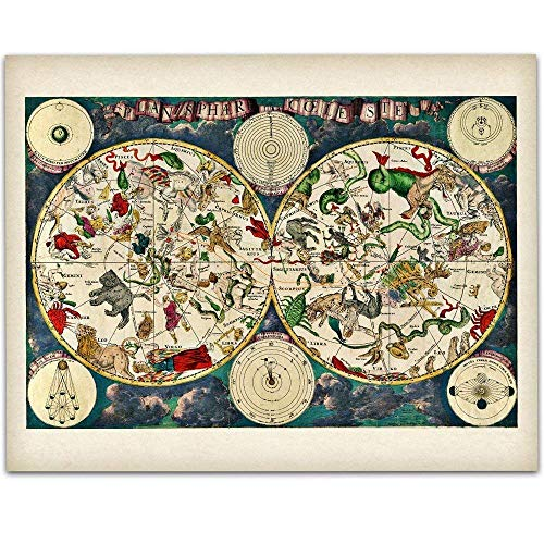 Planisphere Celeste Map - Zodiacs of the Night Sky -11x14 Unframed Art Print - Great Vintage Home Decor Under -