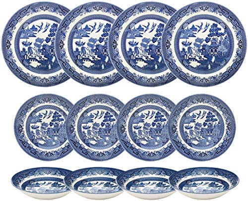 Churchill Blue Willow Dinner Plates, Salad Plates and Coupe Bowls 12 Piece Dinnerware Set, Made In England ()