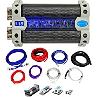 Rockville RFC50F 50 Farad Capacitor w/Voltage Display+Dual Amp Kit