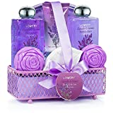 #4: Home Spa Gift Basket, Luxurious 8 Piece Bath & Body Set For Men/Women, Lavender & Jasmine Scent - Contains Shower Gel, Bubble Bath, Body Lotion, 2 Rose Soaps, Bath Bomb, Cosmetic Bag & Wired Basket