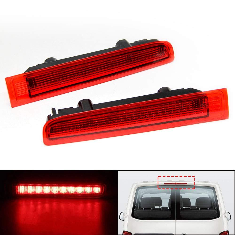 OPPULITE 2 x LED de lente roja Tercera luz de freno de alto nivel para puerta de granero Transporter T5-T6 Centro de alto nivel