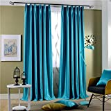 """Leyden Pleated Top Classic Solid Blue Bright Velvet Curtains Curtain Drapes - 42Wx84""""L (One Panel)"""