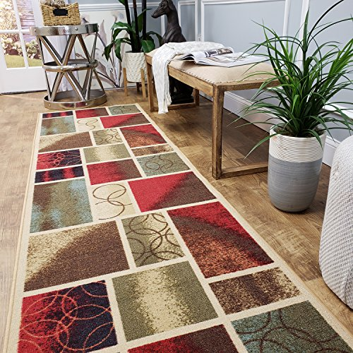 CUSTOM CUT 22-inch Wide by 14-feet Long Runner, Multicolor Boxes Geometric Non Slip, Non-Skid, Rubber Backed Stair, Hallway, Kitchen, Carpet Runner Rug - Choose your Width by Length -