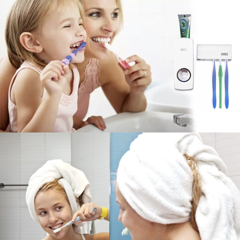 Duoles Toothbrush Holder Automatic Toothpaste Dispenser Set Dustproof with Super Sticky Suction Pad Wall Mounted Kids Hands Free Toothpaste Squeezer for Family Washroom bathroom(white)