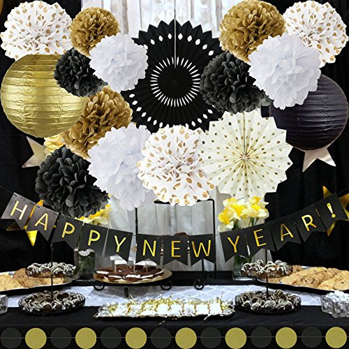 Happy New Year Decorations Happy New Year Banner Chinese Paper Lanterns Tissue Paper Flowers Pom Poms Hanging Paper Fans Garland New Years Eve Party Decorations Kit ()