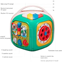 Baby Activity Cube - 6-in-1 Baby Learning Toys Play Set,Colorful Shapes Puzzle, Vehicles Puzzle, Infant Toy for Toddlers 18+ Months with Piano Drum