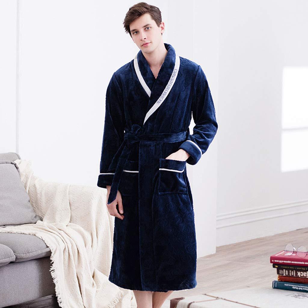 Pijamas Hombres Gruesos Servicio a Domicilio casa camisón Largo de Hombres Batas de baño Hombres Servicio a Domicilio (Color : Blue, Size : M): Amazon.es: ...
