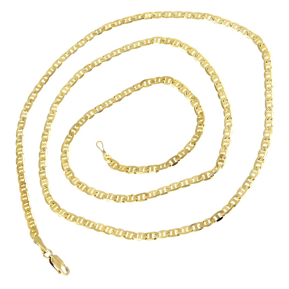 Luxurman 14K Yellow Gold Solid Flat Mariner Chain 1.7mm Wide Link Anklet Lobster Claw Clasp 10'' long