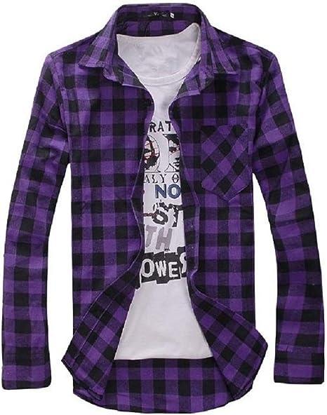 SaySure (Asia tamaño), Largo Manga Plaid Camisas para Hombres, Turn-Down Cuello Camisa, Moda Estilo Slim (Morado diseño de Cuadros), Hombre: Amazon.es: Deportes y aire libre