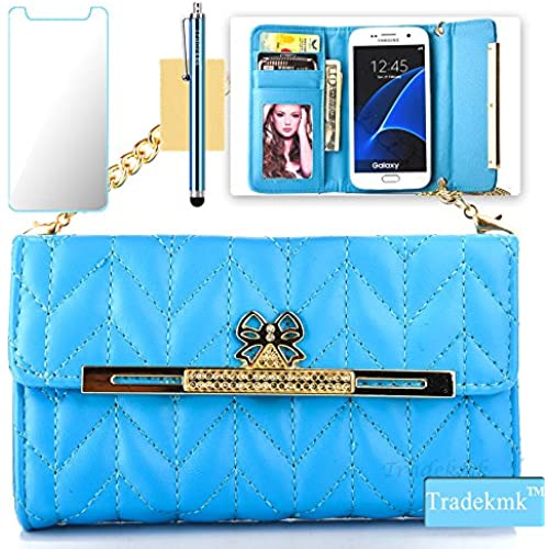 Galaxy S7 Edge Case,S7 Edge Case, Tradekmk(TM); PU Leather Wallet Card Slots With Long Chain Phone Case Cover(Blue) For Samsung Galaxy S7 Edge Sales