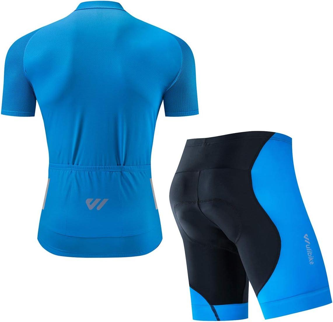 con camiseta de manga corta c/ómoda y medias acolchadas en 3D Conjunto deportivo de ciclismo para hombre de Logas transpirables y de secado r/ápido