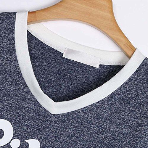 Donne Tops Manica Sorella Grande Queque V Casual Stampa Camicia Scollo Maglietta Grigio Shine Shirt Corta Blouse Migliore a Amico Tee 5Uxwqgx