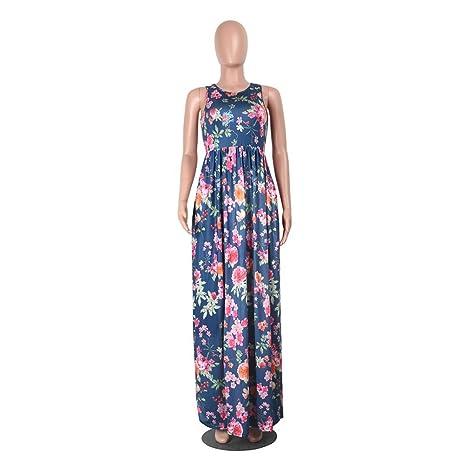❤️Faldas, Challeng Vestido de manga corta con cuello en redondo, Flores, estampado