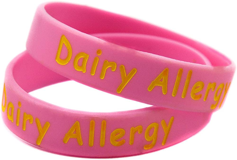 Sunling 2 5 Pack Kids Friendly Food Dairy Allergy Awareness Medical Alert Bracelet Children Silicone Emergency Wristband,16cm-Wonderful Life Saver