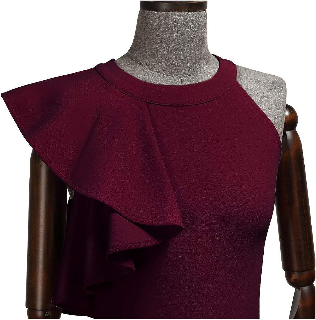 MIUSOL Womens Vintage Bodycon Asymmetric Frill Ruffle Pencil Business Party Dress