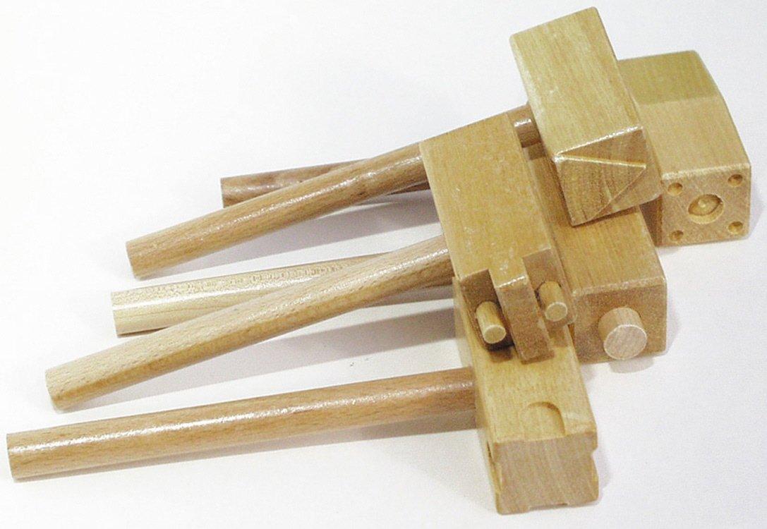 Wooden Clay Hammers with Two Patterns Each, Five B0016035MS | Lassen Sie unsere Produkte in die Welt gehen