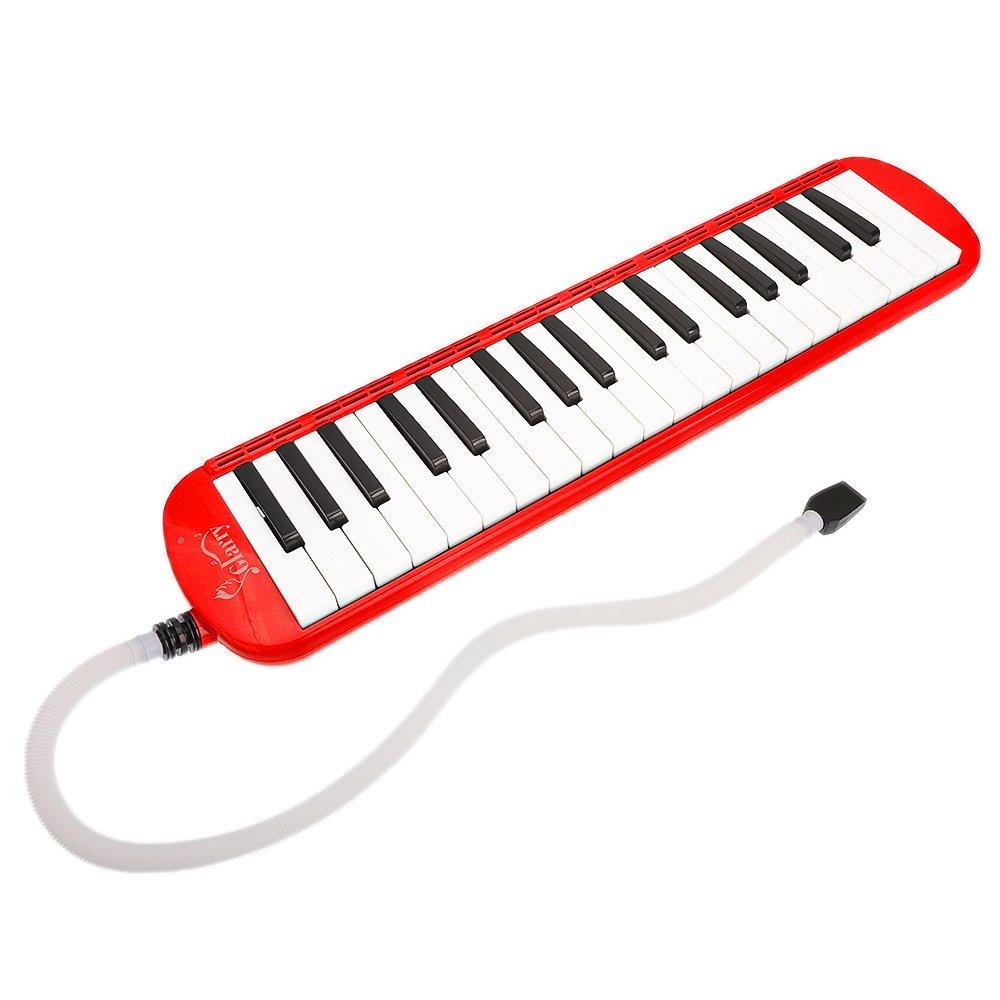Amazca Glarry 37-Key Melodica with Mouthpiece Hose Bag Red by Amazca