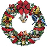 Merry Melodies Lighted Songbird Wreath Plays Medley of 8 Christmas Carols by The Bradford Exchange