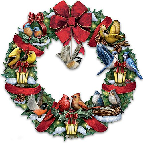 Merry Melodies Lighted Songbird Wreath Plays Medley of 8 Christmas Carols