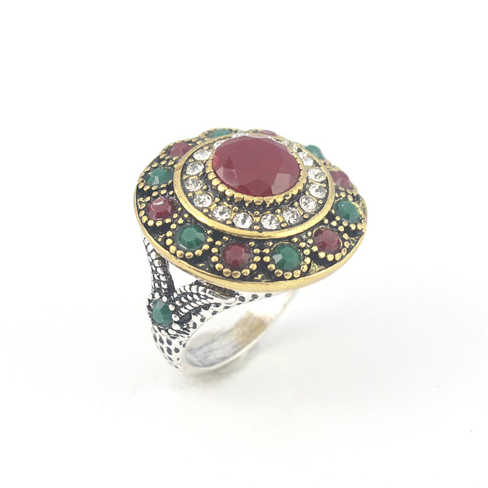 silverjewelgems Ruby Emerald Victorian Jewelry Silver Plated and Brass Ring 9 S23707