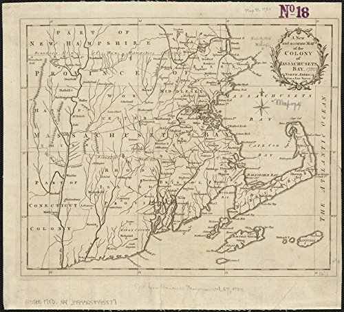 - Historic Map | 1780 A New and Accurate map of The Colony of Massachusets Bay, in North America, from a Late Survey | Antique Vintage Reproduction